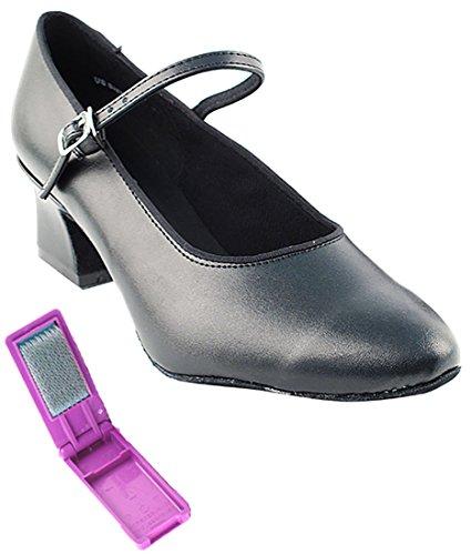 Very Fine Ballroom Latin Tango Salsa Dance Shoes for Women 1682 2-Inch Heel + Foldable Brush Bundle
