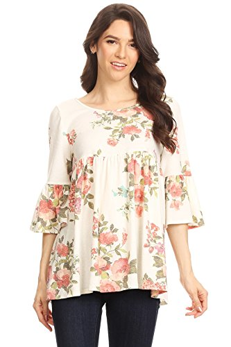 Top Sleeve Ivory Flutter - Casual bell sleeve Tunic Top,Solid and Floral Print/Made in USA Flo ivory XL