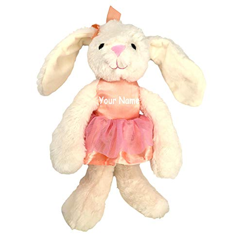K Luxe Baby Personalized Cream Color Bunny in Pink Ballerina Dress with Rattle Sound and Crinkle Ears Plush Stuffed Animal Toy with Custom Name ()