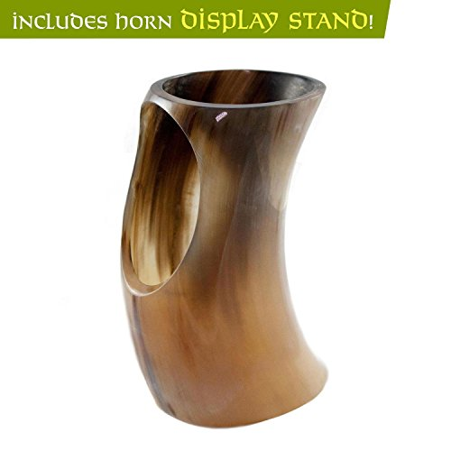 Genuine Ox-Horn Viking Drinking Horn - w/Horn Stand and Burlap Gift Sack - 12'' Horn by Norse Tradesman (Image #5)