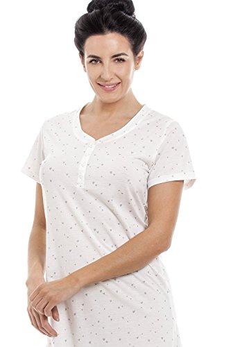 Camille maniche Camicia a a stampa corte Bianco cuori leggera notte bianco argentati da r1rSxwCBq