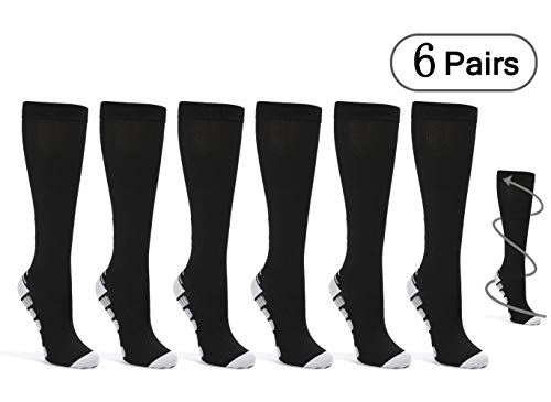 Knee High Compression Socks for Women Men 20-30 mmHg (6 Pairs),Best Graduated Copper-Infused Stockings for Flight Travel, Athletic, Nurse,Pregnancy,Recovery,Crossfit (Black-L/XL)
