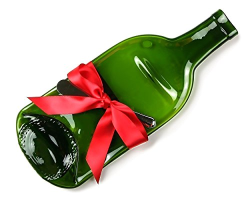 Holiday Gift Cheese Tray and Cheese Spreader, Melted Wine (Melted Wine Bottle Platter)
