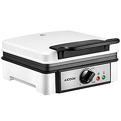 AICOOK 2-Slice Non-Stick Belgian Waffle Maker, 1200W No-Drip Waffle Iron with Browning Control, Indicator Lights, Compact Design, Easy Clean and Store