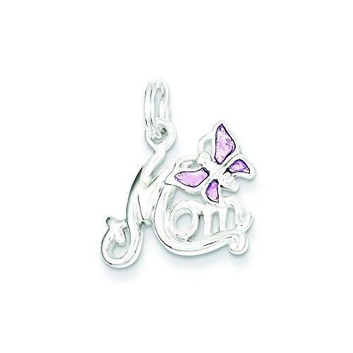 Sterling Silver Polished Mom Butterfly Enameled (Enameled Butterfly Brooch)