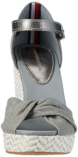 Tommy Hilfiger E1285lena 3d, Sandalias con Cuña para Mujer Gris (Light Grey 007)