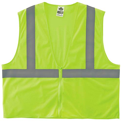 Ergodyne GloWear 8205Z Reflective Safety Vest, High Visibility Lime Mesh, Type R Class 2, Zipper Closure, 2XL/ 3XL ()