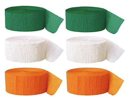Happy St. Patrick's Day Streamers – Colors of the Irish Flag – 2 Rolls Each Green, White, Orange ()