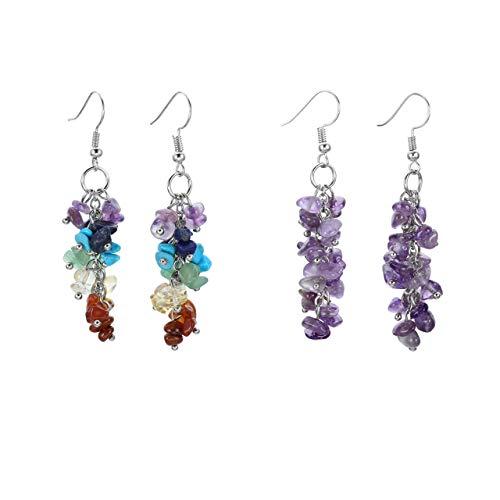 PESOENTH 7 Chakra Amethyst Tumbled Gemstones Reiki Healing Long Dangle Hook Earrings Boho Jewellery for Women Girl Christmas ()