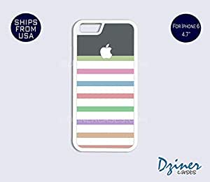 iPhone 6 Case - 4.7 inch model - Colorful Stripes Grey Top iPhone Cover