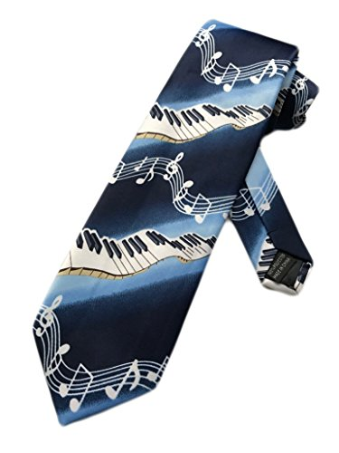 Fratello Piano Keys and Music Notes Necktie - Blue - One Size Neck Tie
