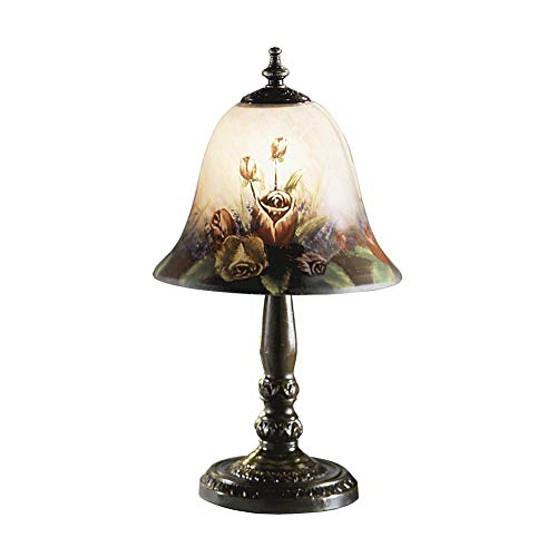 Dale Tiffany 10056/604 Rose Bell Accent Lamp, Antique Bronze and Glass Shade