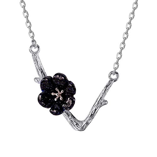 Jewever 925 Sterling Silver Original Sakura Necklace Pendant Dark Blue Goldstone Carving Flower For Women Jewelry Gift