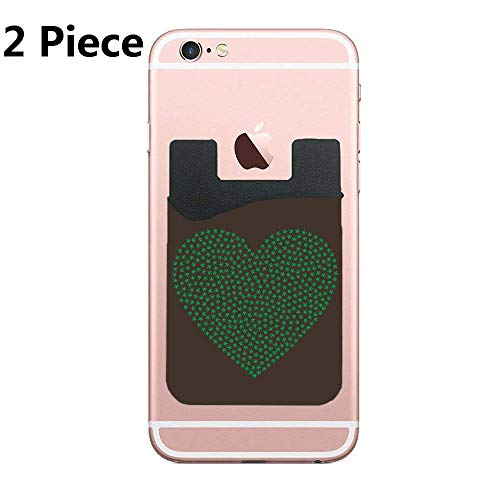 Cellcardphone Cardly (Two) Cell Phone Stick on Wallet Card Holder Phone Pocket for All Smartphones (Leaf Cannabis)