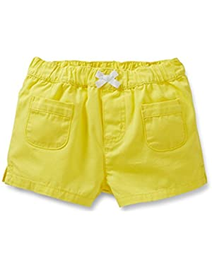 Yellow Canvas Pull On Shorts-3 Months