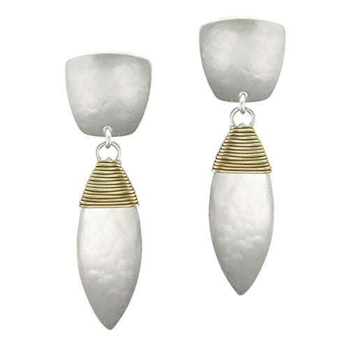 Marjorie Baer Tapered Square with Wire Wrapped Leaf Clip on Earring in Brass and Silver