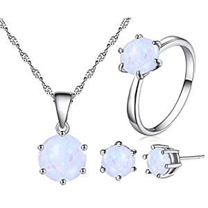 Uloveido Women's White Gold Plated Created 8mm Round Fire Opal Necklace Stud Earrings Solitaire Rings Wedding Jewelry Set (Size 6) Y436
