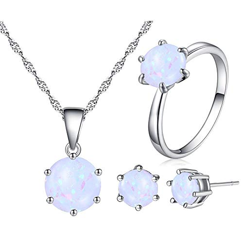 Uloveido Classic 6-Prongs Setting Lab Round White Fire Opal Solitaire Pendant Necklace Stud Drop Earrings and Halo Rings Jewelry Set for Women (Size 8) Y436