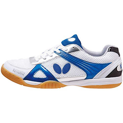 Butterfly Trynex Table Tennis Shoes - Stylish Shoes for Ping Pong - Sizes 4.5-10 - White/Blue or White/Red Shoes - Men or Women Sneakers
