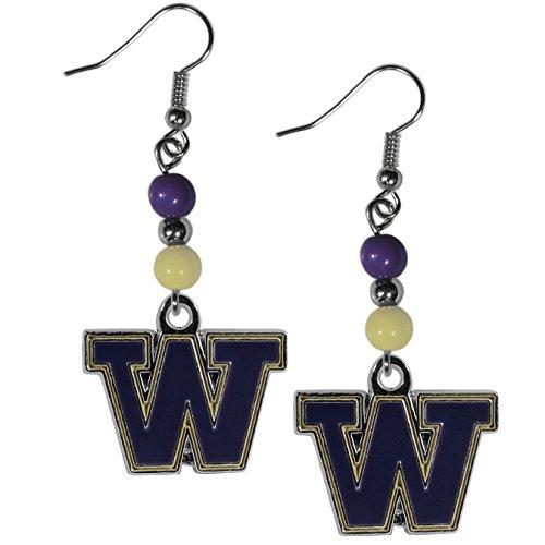Siskiyou NCAA Washington Huskies Fan Bead Dangle Earrings, Purple