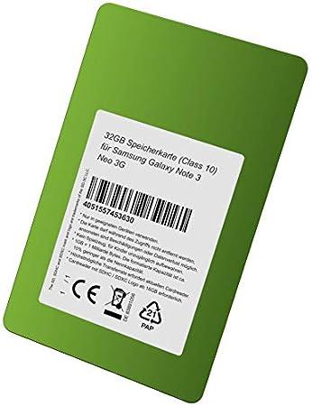 Tarjeta de Memoria de 32 GB (Class 10) para Samsung Galaxy Note 3 ...