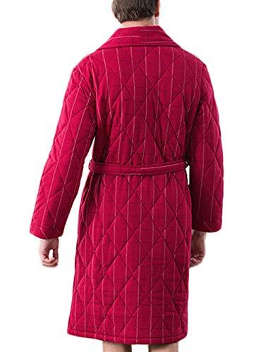 Notte Risvolto Con Tre Strati Robes colore Dimensioni Red Righe Dafrew A Accappatoio M Spessa Maglia Uomo Pigiama In Da Red Calda Vestaglia 7WqzA8OZz