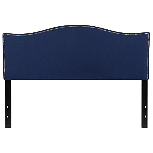 (Flash Furniture Lexington Upholstered Queen Size Headboard with Decorative Nail Trim in Navy Fabric)