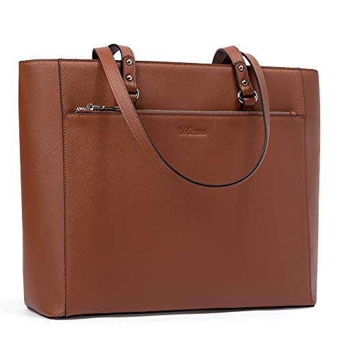 Bromen Women Tote Purse Leather Purses and Hangbags Work Shoulder Bag Fit 15.6 inch Brown