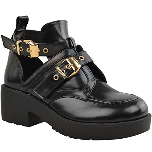 ns Cut Out Chunky Ankle Boots Strappy Biker Low Block Heel Size 7 (Buckle Detail Ankle Boots)