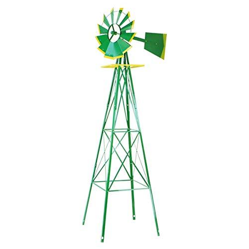 XtremepowerUS 8FT Green Metal Windmill Yard Garden Wind Mill (Renewed)
