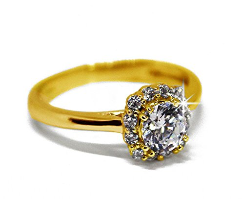 (Decatur Diamonds 14K Solid Gold Engagment Rings for Women Round Solitaire Cushion Halo (14K-Yellow Gold, 5.5))