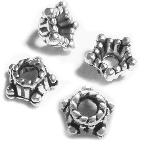 (Heather's cf 300 Pieces Silver Tone Smooth Beads Caps Findings (Fit 6mm Round Beads) Jewelry Making)