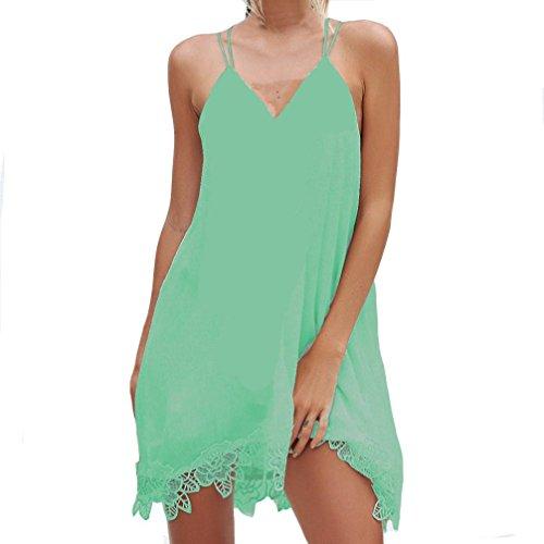 Bsgsh Robe D'été En Mousseline De Soie À Double Sangle De Femmes Criss Croix Dos Découpé En Dentelle Florale Ourlet Vert Sundresses