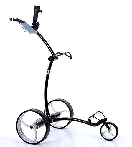 Tour Made RT-630LI Lithium Elektro Golftrolley mit Motorbremse Rahmen schwarz Räder silber