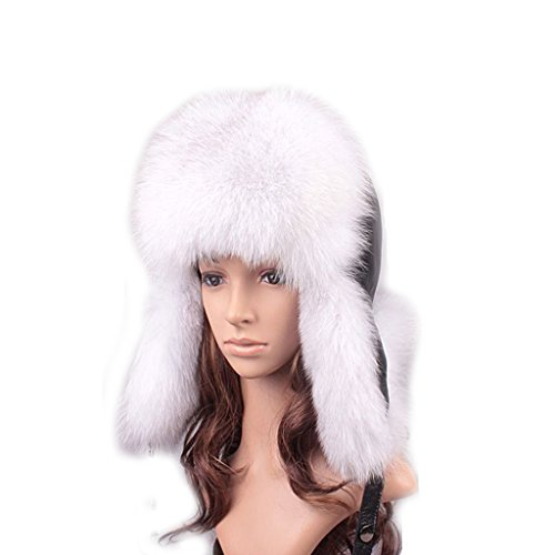 UK.GREIFF Women's Trendy Warm Fox Fur Winter Cap Bomber Hat White