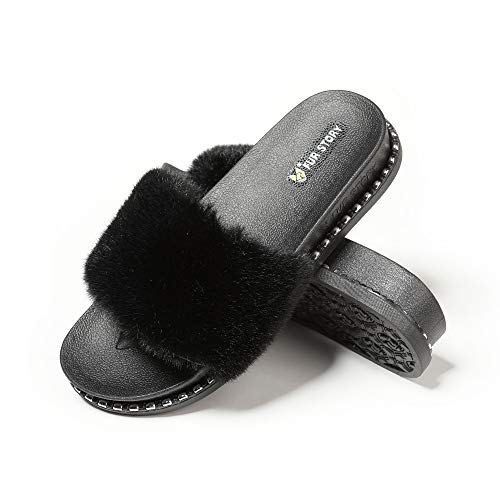 Fur Story Women's Faux Fur Slides Furry Slide Sandal (7, Faux Mink,Rivet)
