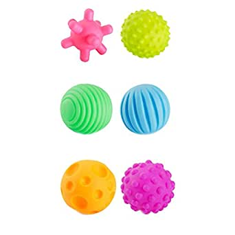My Lucky Baby Sensory Balls 6 Pcs Baby Hand Catch Massage Balls with BB Sound Colorful Grasping Balls for Kids Baby