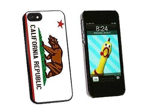 Graphics and More California Republic Flag Snap-On Hard Protective Case for iPhone 5/5s - Non-Retail Packaging - Black