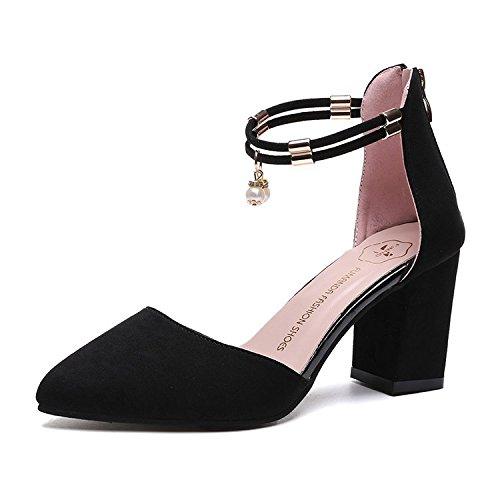 RUGAI-UE señoras forman los zapatos de tacón alto con sandalias femeninas, cremalleras puntiagudas afiladas de verano, tacones de ante de moda. black
