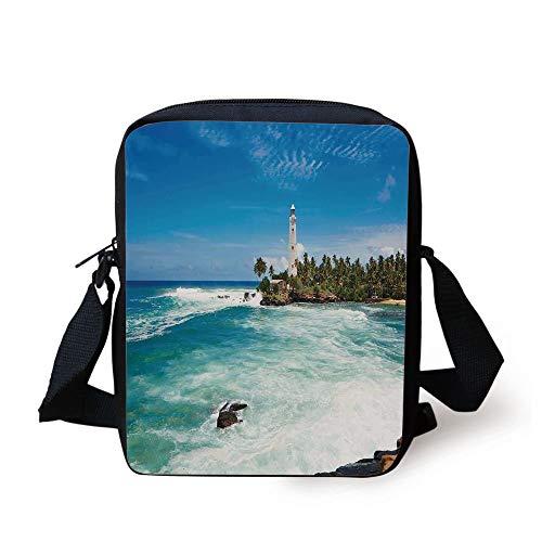 Lighthouse Decor,Tropical Island Lighthouse with Palm Trees Rocks Wavy Seaside Beach Ocean,Blue White Green Print Kids Crossbody Messenger Bag Purse