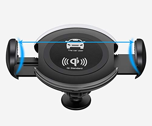 JP-DPP9 Wireless Fast Charging, 2 in 1 Wireless Fast Charging Gravity Car Mount Holder Adjustable Air Vent Phone Holder for Samsung/iPhone 8/X- Black/White Smartphones Qi Certified (a) by JP-DPP9