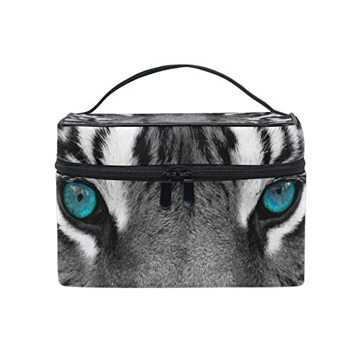 Makeup Bag Animal Tiger Blue Eyes Cosmetic Portable Storage Bag -