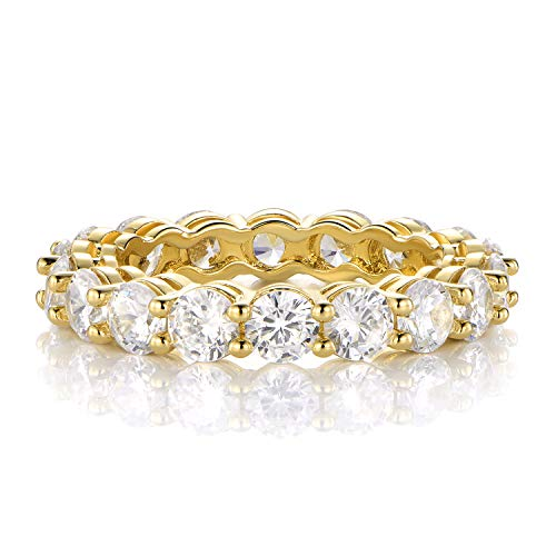 GEMSME 18K Yellow Gold Filled Cubic Zirconia Eternity Band Ring for Women (5)