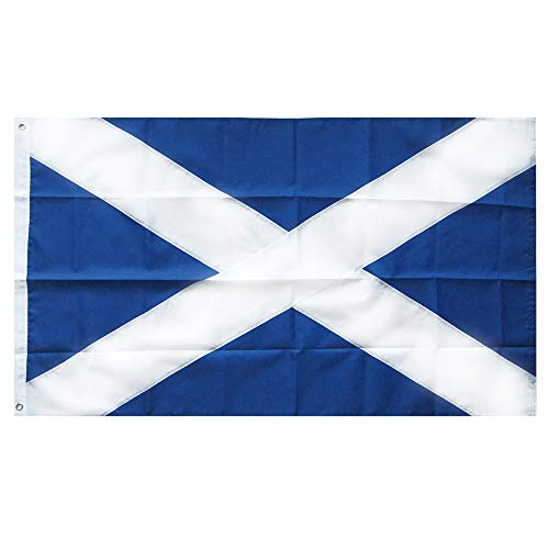 Lixure Scotland Flag 3x5FT Nylon-Embroidered Pattern Sewn Stripes-4 Rows Lock Stitching Flags Brass Grommets 210D Nylon Banner
