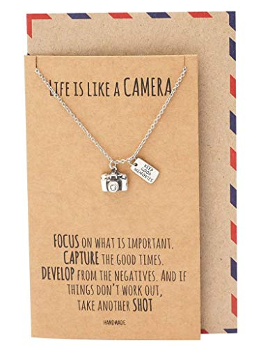 Quan Jewelry Cute Vintage Camera Miniature Pendant Necklace for Women, Photography Gifts, Gifts for Best Friends, Teens, Kids, Selfie Lovers, Photographers, Comes with Inspirational Quote