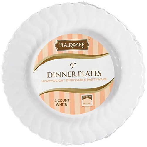 Fineline Settings 18-Piece Flairware Shell Edged China-Like Plate, 9-Inch, White