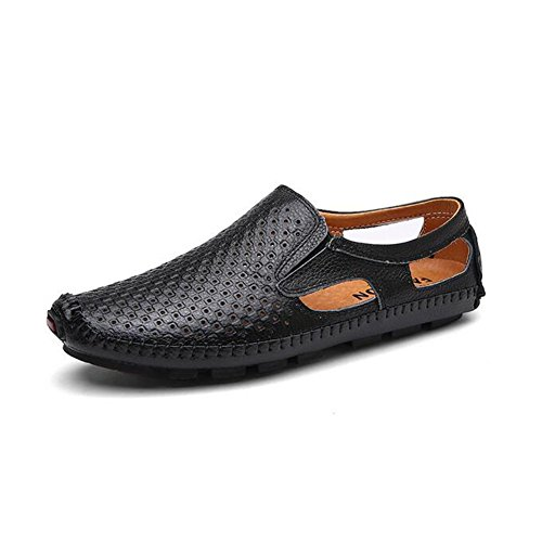 for Shoes Men's Shoes amp; Brown Outdoor ONS Blue Leather Black HUAN Black 2018 Driving Summer Loafers Comfort Slip HqYgx7dw