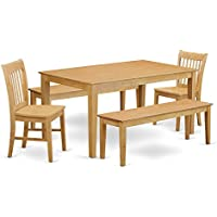 East West Furniture CANO5C-OAK-W 5 Piece Kitchen Dinette Table and 2 Chairs and 2 Wooden Benches Set