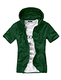 SHOWNO Men's Stylish Active Zip-Up Short Sleeve Hoodie Pockets Tee Top T-Shirts