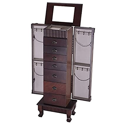 Amazoncom Standing Jewelry Armoire With Mirror Vintage Wood